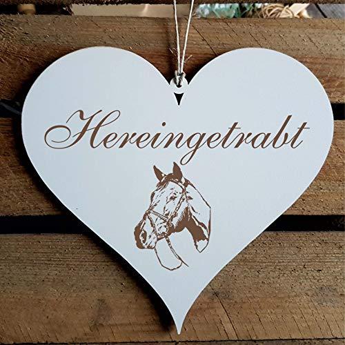 Schild Herz Pferd Spruch Hereingetrabt Holzschild Türschild 13 x 12 cm
