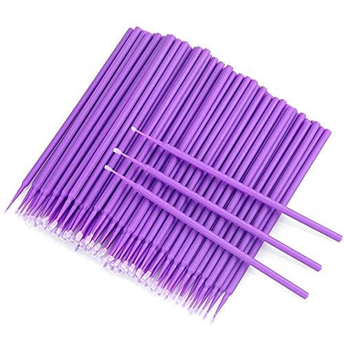 100pcs Cepillo pestañas desechable 4 colores, Microcepillos Aplicadores Desechable Micro Cepillos de rímel para eliminación de maquillaje(Púrpura)