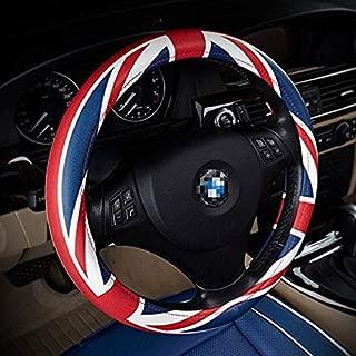 Teanfa Union Jack Union Flag Direct Microfiber Leather Auto Car Steering Wheel Cover Universal 15 inch (Blue)