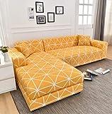 FENFANGAN Protector Sofa de Esquina para Sala de Estar, Funda de sofá Tela elástica 1/2/3/4 plazas, Cuatro Estaciones Universal, para habitación de Banquete de Hotel (AM23,2 Seater 140-180cm)