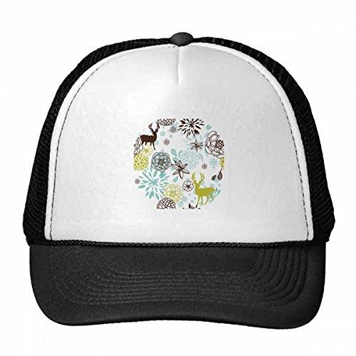 DIYthinker Deer Dekoration Blume Weihnachten Tier Trucker-Mütze Baseballmütze Nylon Mütze Kühle Kind-Hut-Justierbare Kappe Geschenk Erwachsene