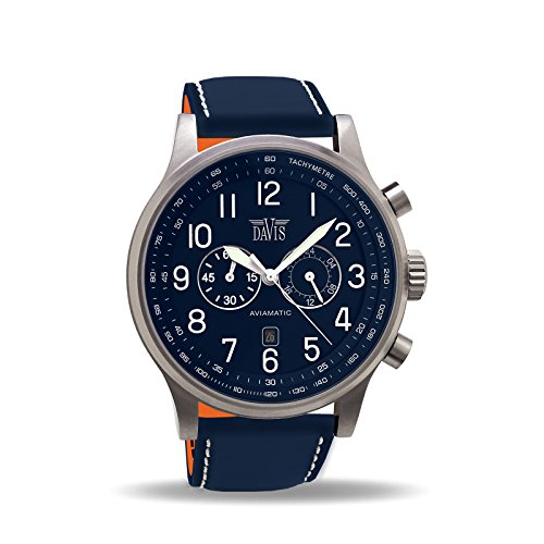 Davis –0455- Orologio Uomo Aviatore Blu 48 mm - Cronografo Stagno 50 M -...