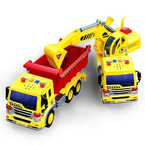 GizmoVine Coche Juguetes Autos para 2 Años 3 Años Niños Chicos,Temprana Educación Juguete Regalos para Pequeños Y Niño Navidad (2PCS Volquete Camión)