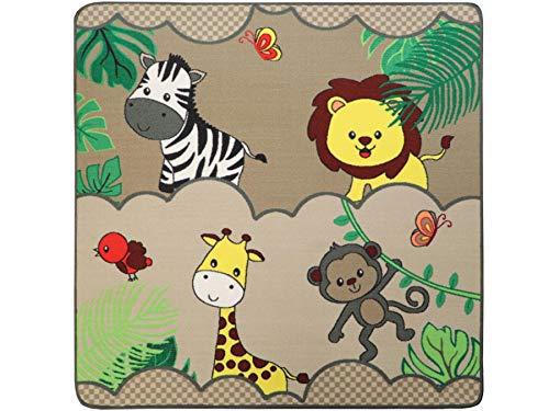 Kinderteppich mit Tieren - SAFARI, 133x133 cm, Pflegeleicht, Fußbodenheizung Geeignet, Spielmatte, Spiel- und Lernteppich für Jungen und Mädchen