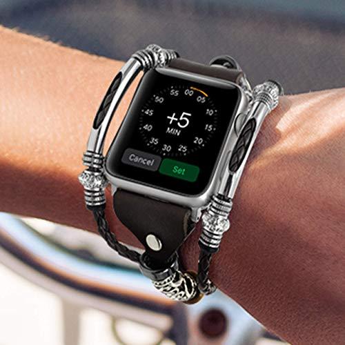 Lederarmband Frauen Armband Kompatibel mit Apple Watch 38mm 40mm 42mm 44mm Ersatzband für iWatch Serie 6 SE 5 4 3 Uhrenarmband Geschenk für Sie