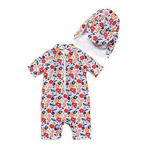 Baby Mädchen Ein stück Kurzärmel-Kleidung UV-Schutz 50+ Badeanzug MIT Einem Reißverschluss(Bunte-Blumen,18-24M)