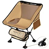 Rock Cloud Portable Camping Chair Ultralight Folding Chairs Outdoor with Legs Stabilizers for Camp Hiking Backpacking Lawn Beach Sports, Brown