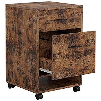 IRONCK Lateral Filing Cabinet Industrial Printer Stand on Wheels Home Office Cabinet with 2 Drawers Open Shelf Mobile Vertical File Cabinet, Vintage Brown
