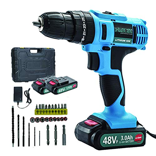 Beautiful happy 21V Professional Industrial Rechargeable Cordless Drill Driver, 1 Hr Fast Charger, 22N.m,2 Speed Compact Electrical Drill with 28 pcs Accessories (Color : -, Size : -)