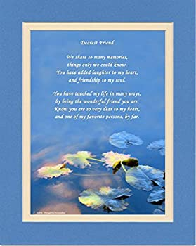Friend Gift with We Share so Many Memories Poem Water Lily Leaves Photo 8x10 Double Matted Friendship Gifts for Friends Christmas Birthday Best Friend Gifts.