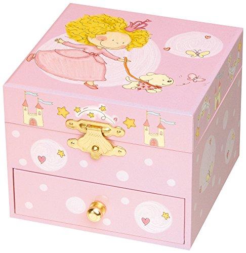 TROUSSELIER - Princesse - Boîte à Bijoux Musicale - Idéal Cadeau Jeune Fille - Musique Invitation à la Danse - Colori Rose