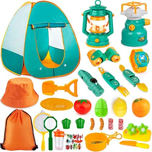 Aokiwo 45Pcs Kids Camping Tent Set Pop Up Play Tent with Camping Gear Tools Indoor Outdoor Pretend product image