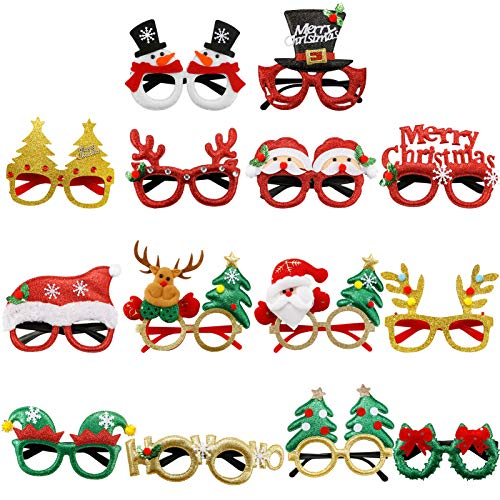 Dulabei 14 Stück Weihnachtsbrillen Partybrillen Set Kreative Weihnachtsmann Weihnachten Brillen Party Gläser Cartoon Nette Sortierte Kinder Partybrillen Lustige Brille für Partydekoration