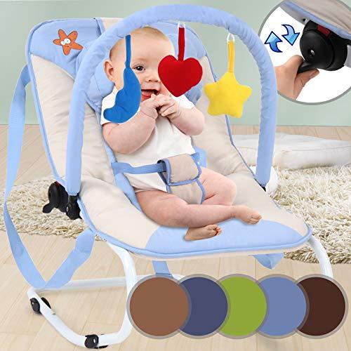 Babywippe - mit 3-Punkt-Sicherheitssystem, stabilem Metallrohr-Gestell, Schaukelfunktion, Designwahl, inkl. Spielbogen, 3 Spielzeuge - Babyschaukel, Schaukelwippe, Babytrage
