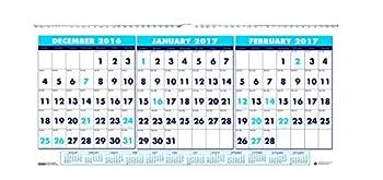 House of Doolittle 2017 Wall Calendar Three-Month Horizontal 17  x 8   HOD3647-17