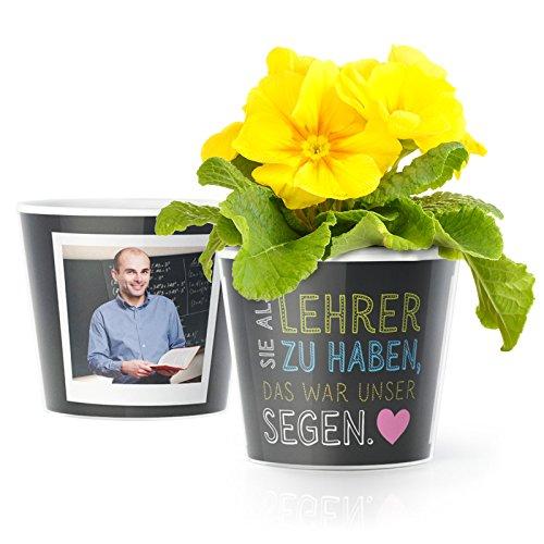MyFacepot Lehrer Geschenk Blumentopf (ø16cm) | Zum Abschied oder Danke Sagen in der Grundschule mit Rahmen für Zwei Fotos (10x15cm) | Sie als Lehrer zu haben, war unser Segen.