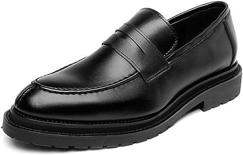 L.W.SUSL Chaussures à Enfiler pour Hommes Mocassins Rapides Rapides Rapides en Cuir PU glissé Glissant GentleHommes Affaires Oxfords des Chaussures (Couleur   Noir, Taille   9.5MUS) c5c