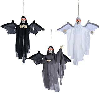AMPERSAND SHOPS 3 Count Angels of Death Scary Skeletons Halloween Prop Eerie Yard Décor with Sound-Activated Wings Shaking Movements and Light-Up Eyes Spooky Voice