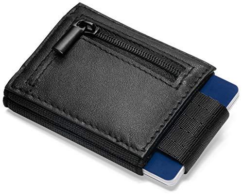 Vision Wallet Mini Portemonnaie Herren mit Münzfach für bis zu 7 Kreditkarten - schmale Leder Geldbörse für Karten, Scheine und Münzen