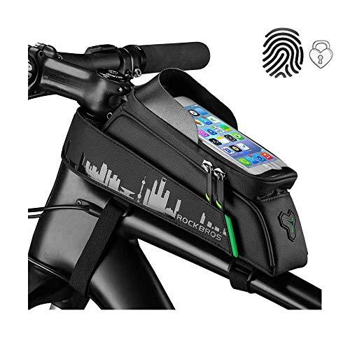 ROCKBROS Fahrrad Rahmentasche Fahrradtasche Wasserdicht Handytasche Touchscreen für Handys bis zu 6,0