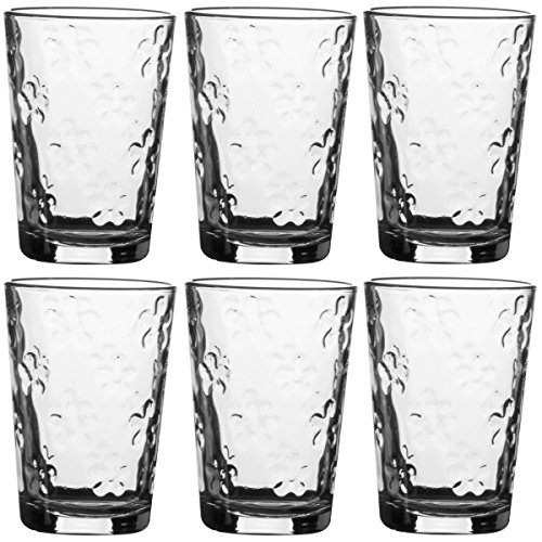 Promobo-Bicchieri per l'acqua, motivo: fiori scolpiti, 21cl (Confezione da 6)