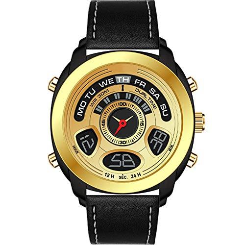 REYUAN Reloj Digital de los Relojes for los Hombres, Cuero clásico de la Correa de Reloj Deportivo Digital de Pantalla a Prueba de Agua Casual Cronómetro Alarma Luminosa Simple Reloj del ejército