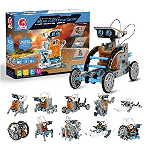 12-in-1 Solar Robot Kit: This solar robot kit could be built into 12 different shapes of robots. It is composed of 190 pcs, including moving and connecting parts like gears, plates, tires, and shafts. Kids can easily disassemble them after the buildi...