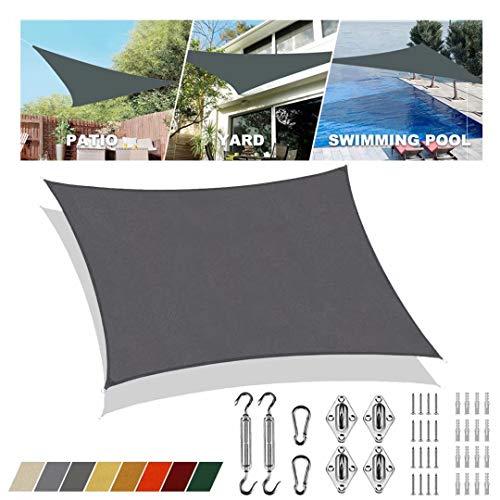 Sonnensegel aufrollbar Grau viereckig 4x5m UV-Schutz Overall Wasserdicht Sonnenblende Atmungsaktiv Für Versammlungen im Freien in Gärten und Innenhöfen Für Terrasse Mit Sonnensegel Befestigung
