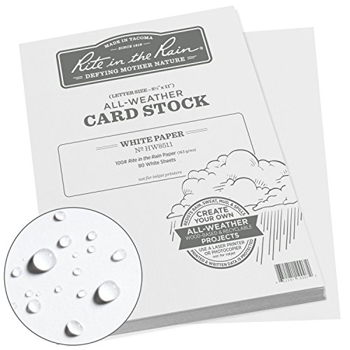 "Rite in the Rain All Weather Card Stock, 8.5"" x 11"", 100# White, 80 Sheet Pack (No. HW8511)"