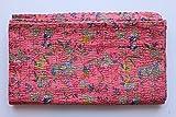 Kiara handgefertigt Quilts Baumwolle Paisley Print Blumenmuster reversibel Kantha Tagesdecken und coverlets Stitch Überwurf Twin Size/Queen Size, baumwolle, Barbie-Pink, Twin