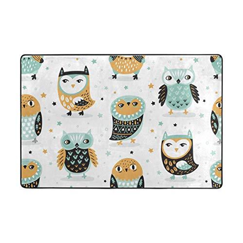 Orediy Weiche Teppiche mit Eulen und Sternen in Minzgrün, leichter Teppich, Kinder-Spielmatte, rutschfest, Yoga-Teppich für Wohnzimmer, Schlafzimmer