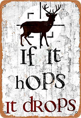 Placa metálica de metal con diseño de texto 'If It Hops It Drops', multiusos, para empresas e instituciones, todo tipo de personajes individuales o decoración del hogar, 20 x 30 cm