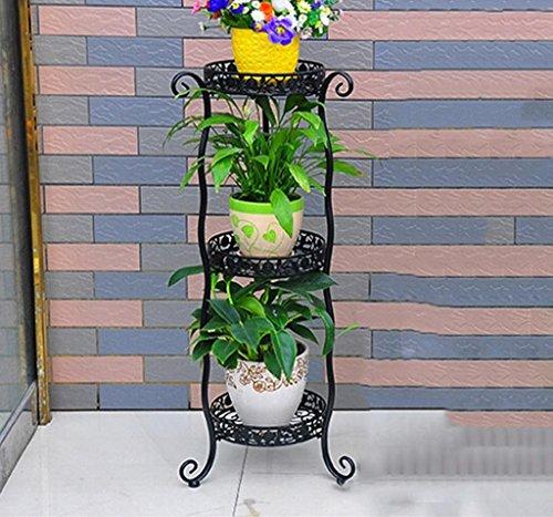 balcon voyantes Racks de fleurs en fer Pots de fleurs de plancher intérieur et extérieur Salon de style européen Balcon Couches multiples Décoration de fleurs Décoration Plantes d'extérieur Présentoir ( taille : 81cm )