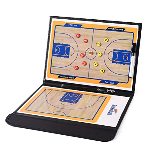 Basketball Coaching Board - Tabla de Entrenamiento de Baloncesto (2,5 Compartimentos, Plegable, con rotulador de borrado en seco)