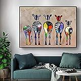 King style lienzo abstracto de cebra, impresiones artísticas de animales coloridos, cuadros de sala de estar de baño de animales y pinturas decorativas para pared