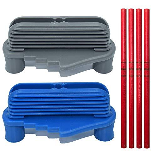 Mittförskjutning märkningsverktyg, 2 delar centrummarkeringsverktyg, multifunktionscenter scriber med 4 delar röd penna för träbearbetning, trä gör-det-själv, ritade kanter (blå och grå)