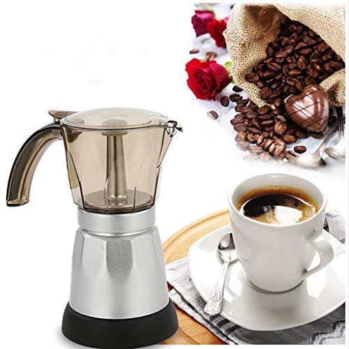 Harpily Caffettiera Elettrica Moka Percolatore per caffè Espresso Spina UE da 3-6 Tazze (3 Cups)