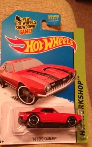 Hot wheels '68 copo camaro Red 224/250 Rare new in package hw workshop