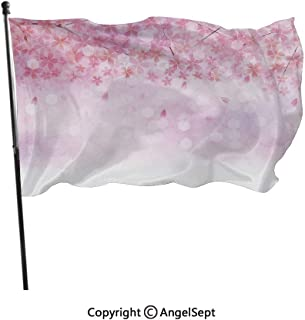 AngelSept Polyester Garden Flag House Banner,Sakura Branches with Blooming Florets Garden Nature Summer Inspiration Art Light Pink White,3x5 ft,Decoration Flag for Wedding Party Home