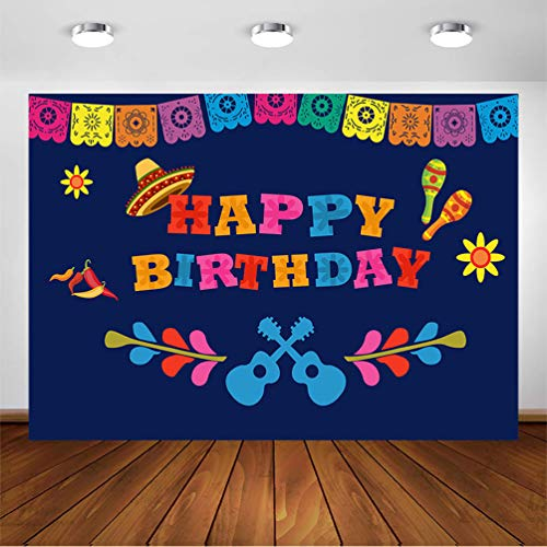COMOPHOTO Birthday Party Photography Background for 7x5ft Vinyl Mexican Fiesta Theme Birthday Banner Photo Backdrop Party Event Decoration Supplies