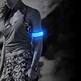 Ezer Running Lights for Runners - 2 Pcs LED Armband, Night Running LED Wristbands for Joggers, Pet Owners, Students (Blue)