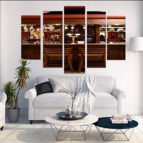 Generic Brands Impressions sur Toile 5 pièces Comptoir de Bar Toiles Photo 3D HD Imprimer Mur Art Modulaire Peinture Murale Moderne pour Famille Décoration - Cadre en Bois 20x35/45/55cm
