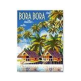 djnukd Carteles E Impresiones De Bora Bora Vintage Retro Lienzo De Viaje Pintura Paisaje Pared Imágenes Artísticas para Decoración del Hogar 50X70Cmx1 Sin Marco