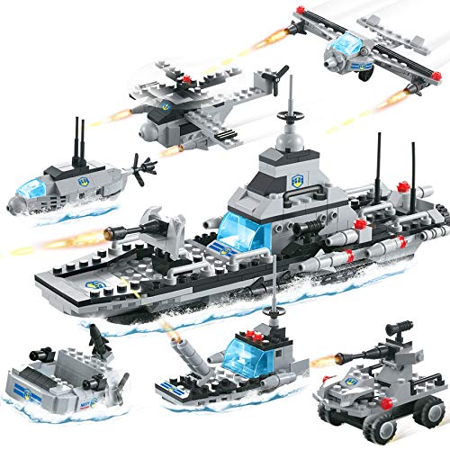 796 Pieces City Police Military Battleship Building Blocks Set Police Helicopter Patrol Boat Cop Car Bomber DIY Construction Toy Storage Box with Baseplates Lid Building Gift for Boys Girls 6-12