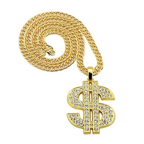 Ruluti Unisex De Aleación De Zinc De Hip Hop Cadena Dólar del Patrón del Collar del Rhinestone Pendiente De Joyería De Hip Hop para Los Hombres De Mujeres
