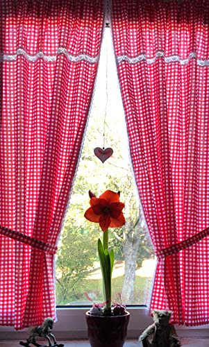 Leinenshop24 Landhaus Gardinen Set 2 St + 2 Bindebänder rot-weiß kariert mit Spitze 140x80cm/Gesamt 160cm breit 100% Baumwolle Tina
