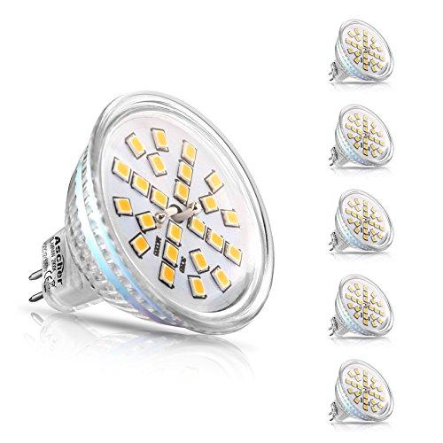 Ascher 5er Pack MR16 GU5.3 LED Lampen, 400lm, Ersatz für 50W Halogenlampen, 4W, 12V AC/DC, Warmweiß,120 ° Ausstrahlungswinkel, LED-Reflektorlampe mit GU5.3-Sockel