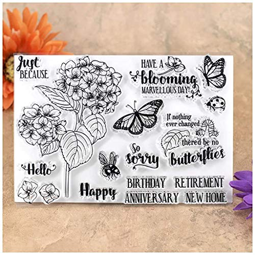 Kwan Crafts Flowers Butterfly Bee Just Because Happy Birthday Retirement Anniversary New Home Clear Stamps for Card Making Decoration and DIY Scrapbooking