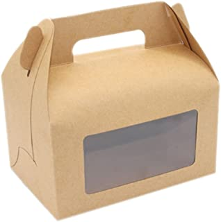 Ancefine Kraft Gable Treat Boxes with Window,20-Pack