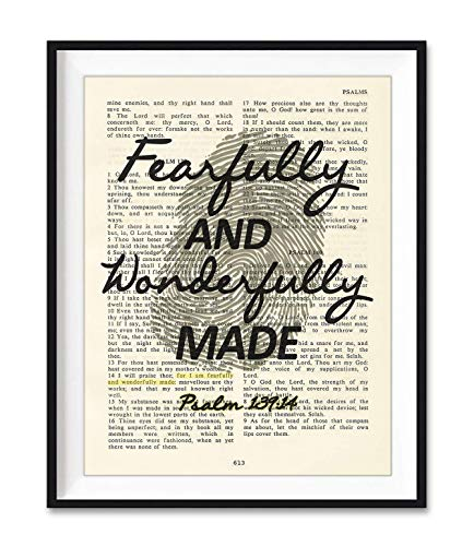 Fearfully and Wonderfully Made, Psalm 139:14, Art Print, Unframed, Vintage Bible Verse Scripture Wall Decor Poster, New Baby Gift, 8x10 Inches